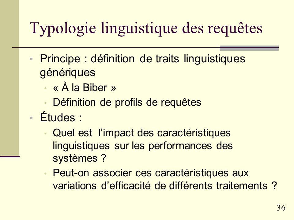 35 Le projet ARIEL Typologie linguistique des requêtes