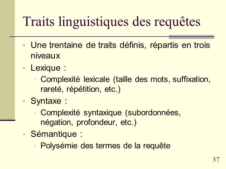 36 Typologie linguistique des requêtes Principe : définition de traits linguistiques génériques « À la Biber » Définition de profils de requêtes Étude