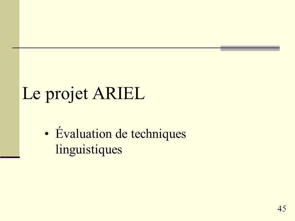 44 Résultats Phénomène connu (Mandl & Womser 2004): les noms propres Corrélation significativement positive Confirmé sur TREC et CLEF Phénomènes nouve