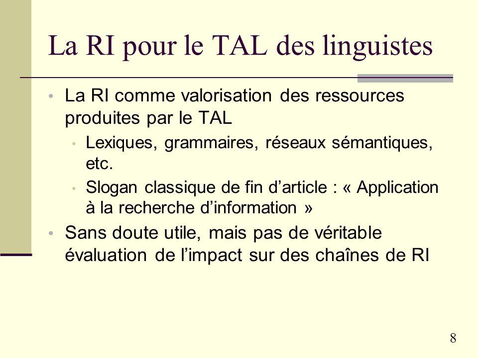 8 La RI pour le TAL des linguistes La RI comme valorisation des ressources produites par le TAL Lexiques, grammaires, réseaux sémantiques, etc.