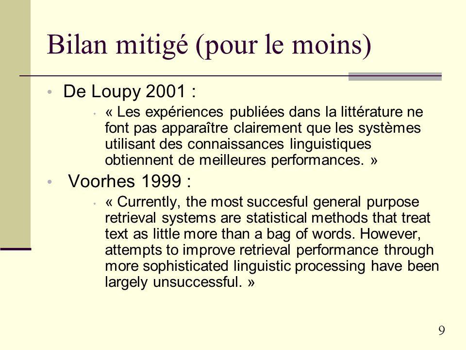 9 Bilan mitigé (pour le moins) De Loupy 2001 : « Les expériences publiées dans la littérature ne font pas apparaître clairement que les systèmes utilisant des connaissances linguistiques obtiennent de meilleures performances.