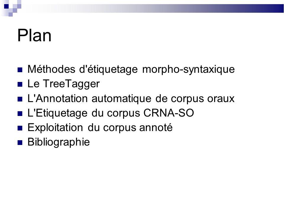Plan Méthodes d étiquetage morpho-syntaxique Le TreeTagger L Annotation automatique de corpus oraux L Etiquetage du corpus CRNA-SO Exploitation du corpus annoté Bibliographie
