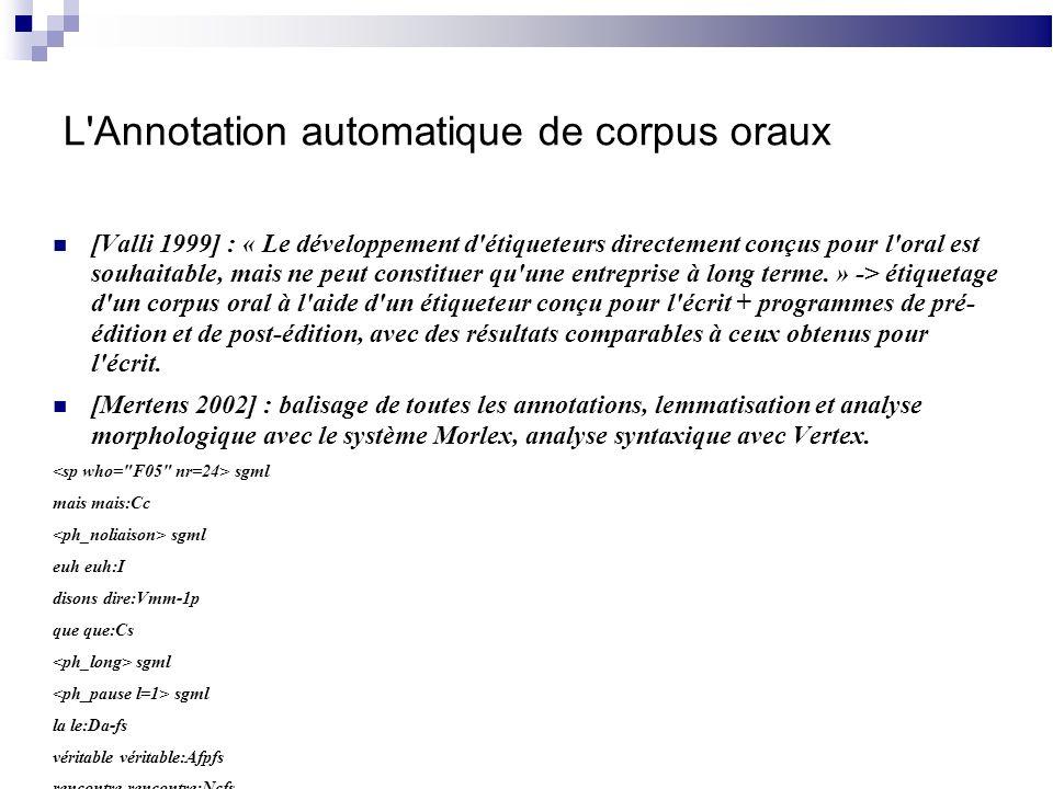L Annotation automatique de corpus oraux [Valli 1999] : « Le développement d étiqueteurs directement conçus pour l oral est souhaitable, mais ne peut constituer qu une entreprise à long terme.