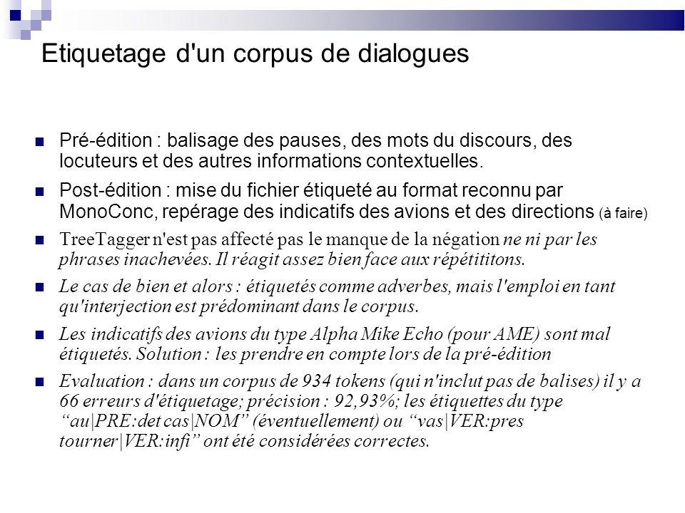 Etiquetage d un corpus de dialogues Pré-édition : balisage des pauses, des mots du discours, des locuteurs et des autres informations contextuelles.