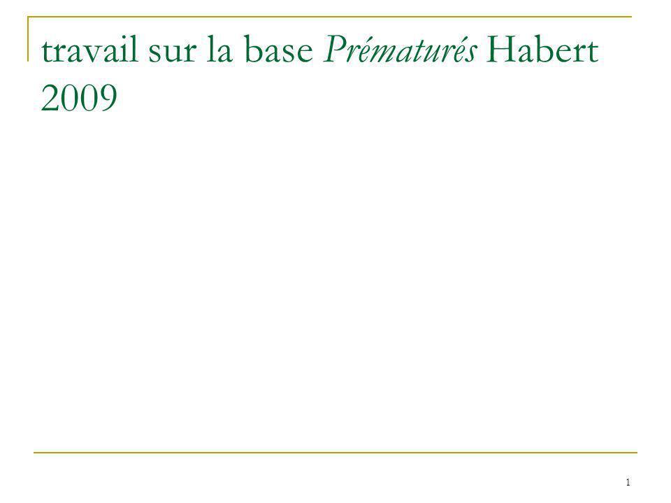 travail sur la base Prématurés Habert 2009 1