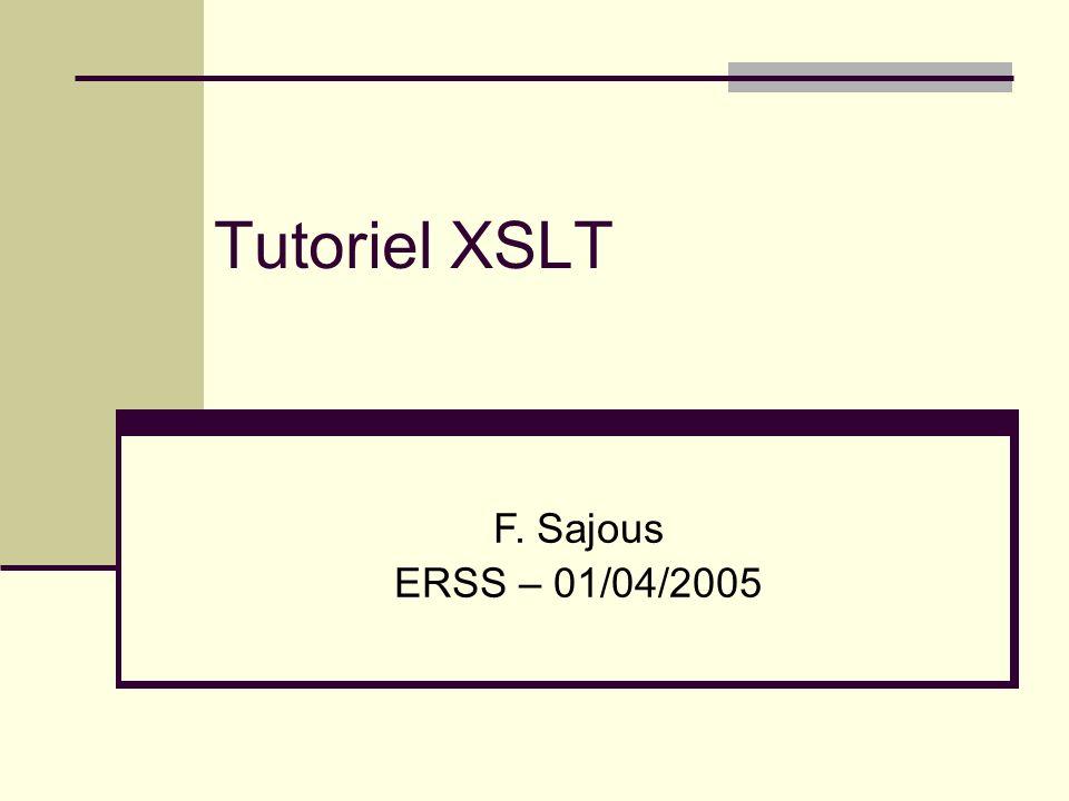 12 Défaut des patrons 3 patrons par défaut : éléments textuels : générer le texte en sortie commentaires : ignorer autres noeuds : appliquer les patrons (définis ou par défaut) aux enfants XML XML : un lang.