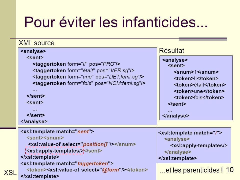 10 Pour éviter les infanticides......... XML source 1 Il était une fois... Résultat XSL...et les parenticides !