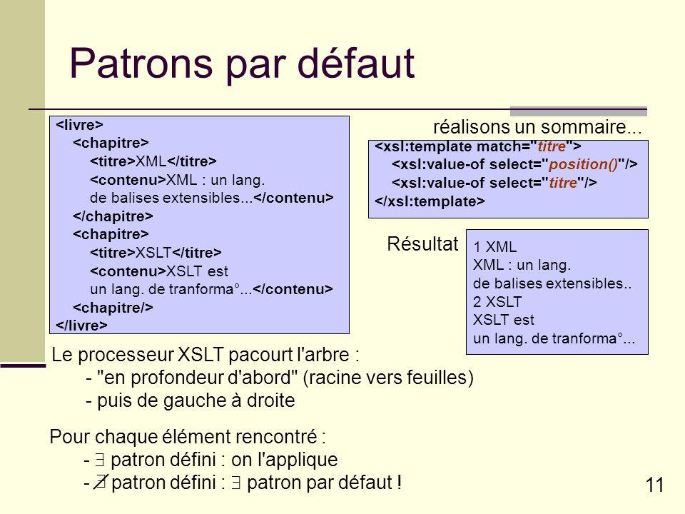 11 Patrons par défaut XML XML : un lang. de balises extensibles... XSLT XSLT est un lang. de tranforma°... réalisons un sommaire... 1 XML XML : un lan