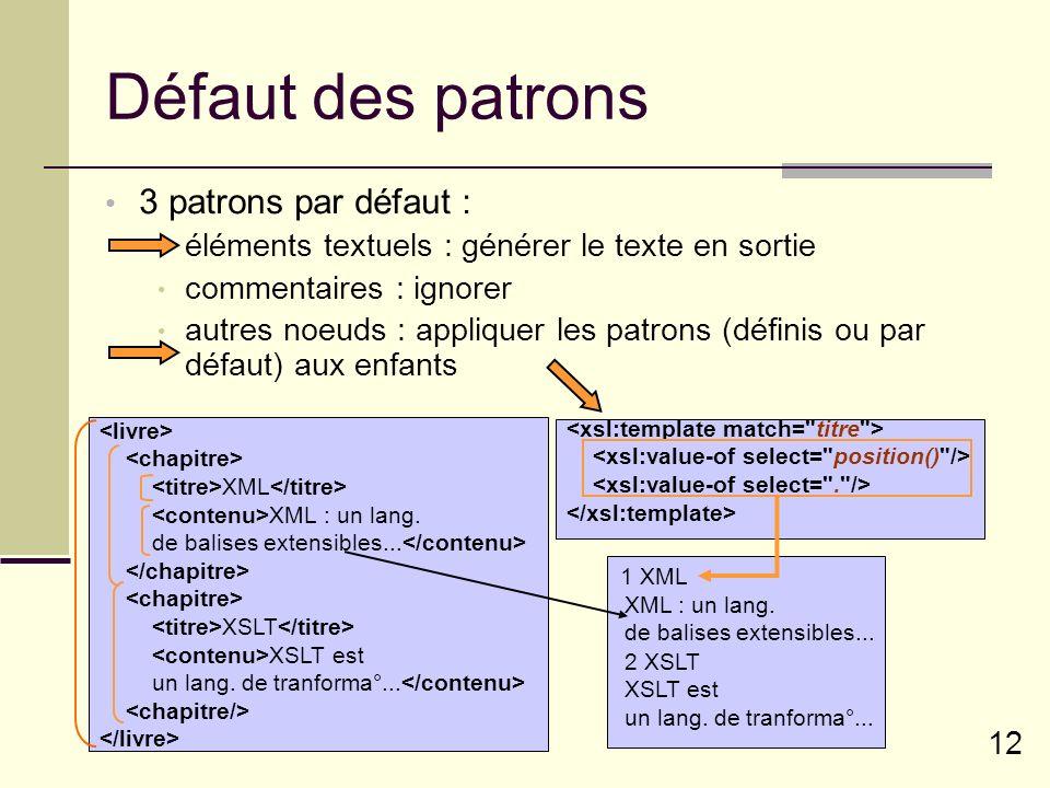 12 Défaut des patrons 3 patrons par défaut : éléments textuels : générer le texte en sortie commentaires : ignorer autres noeuds : appliquer les patro
