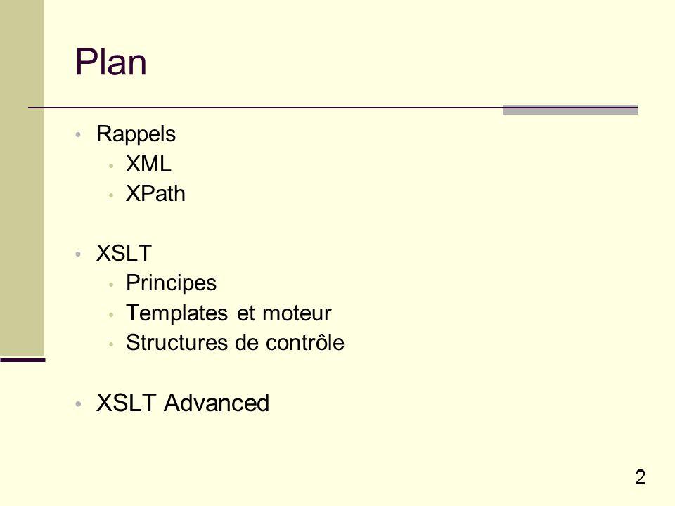 23 Plusieurs documents XML Pour accéder à un docuement autre que celui en cours de transformation : document( cheminFichier )/XPath XSL Processeur XSLT XML source XML source Résultat XML (autre).........