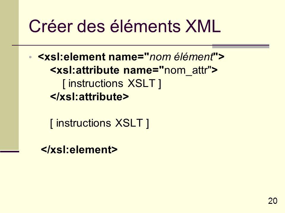 20 Créer des éléments XML [ instructions XSLT ] [ instructions XSLT ]