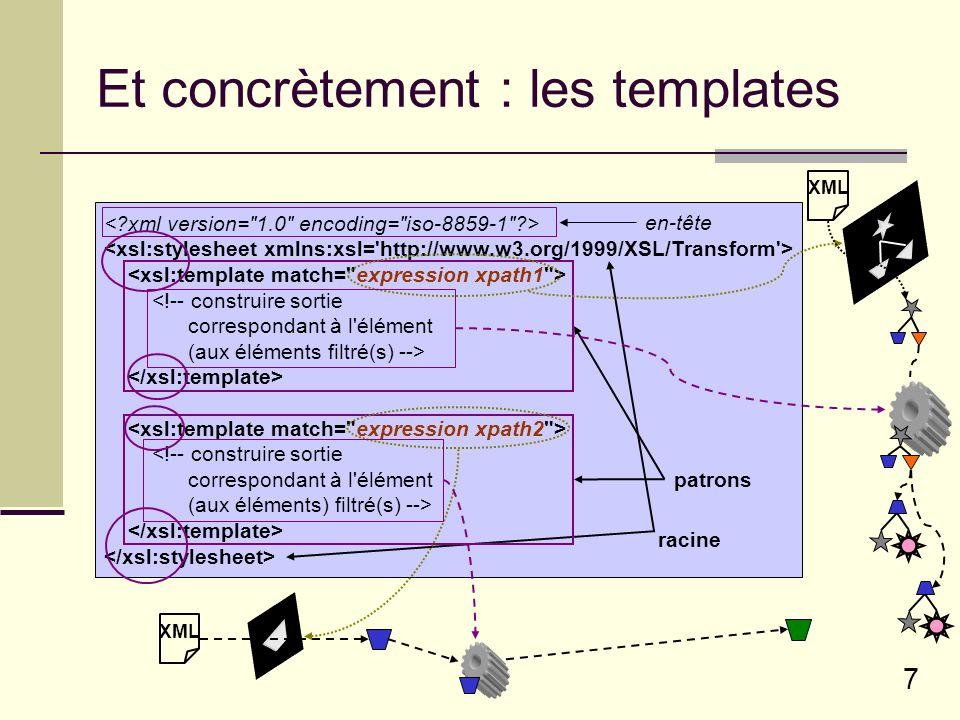 8 Templates : un exemple......XML source 1 Il était une fois...