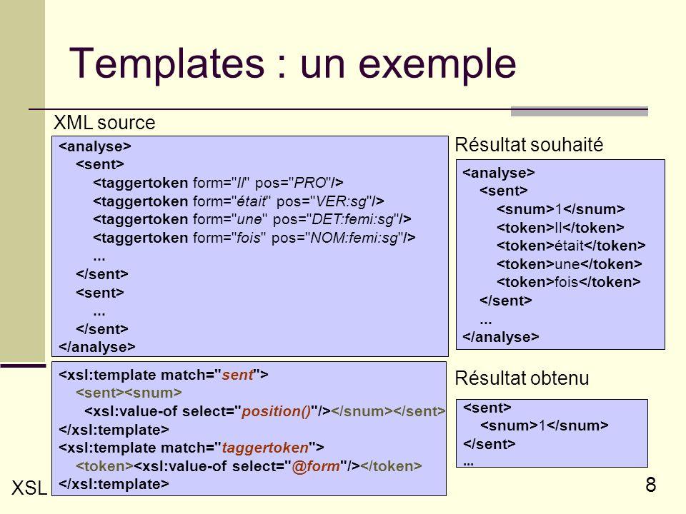 8 Templates : un exemple...... XML source 1 Il était une fois... Résultat souhaité XSL 1... Résultat obtenu