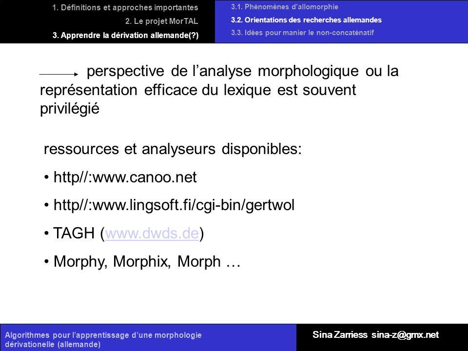 Algorithmes pour lapprentissage dune morphologie dérivationelle (allemande) perspective de lanalyse morphologique ou la représentation efficace du lex