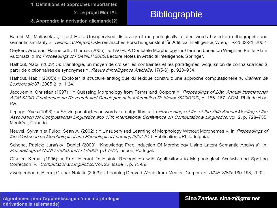 Algorithmes pour lapprentissage dune morphologie dérivationelle (allemande) Bibliographie Baroni M., Matiasek J., Trost H.: « Unsupervised discovery o