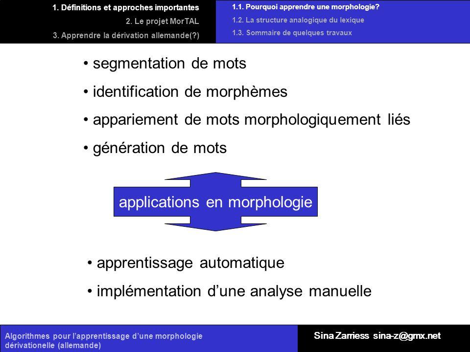 Algorithmes pour lapprentissage dune morphologie dérivationelle (allemande) 1.1. Pourquoi apprendre une morphologie? 1.2. La structure analogique du l