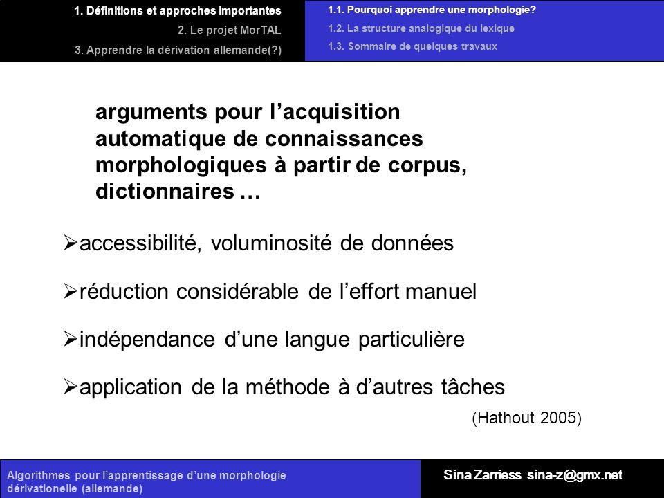 Algorithmes pour lapprentissage dune morphologie dérivationelle (allemande) arguments pour lacquisition automatique de connaissances morphologiques à
