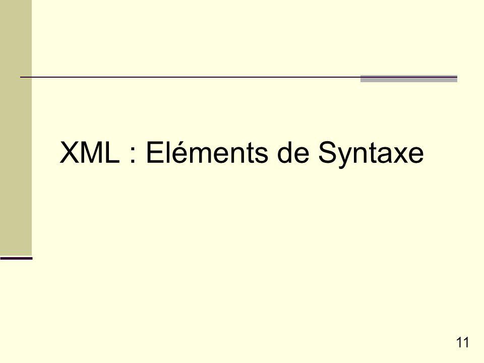 11 XML : Eléments de Syntaxe