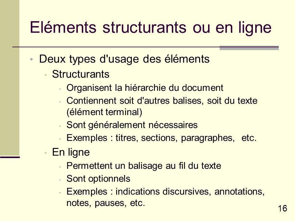 16 Eléments structurants ou en ligne Deux types d usage des éléments Structurants Organisent la hiérarchie du document Contiennent soit d autres balises, soit du texte (élément terminal) Sont généralement nécessaires Exemples : titres, sections, paragraphes, etc.