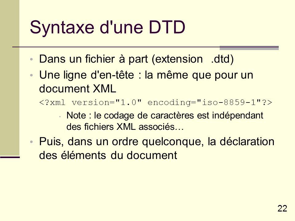 22 Syntaxe d une DTD Dans un fichier à part (extension.dtd) Une ligne d en-tête : la même que pour un document XML Note : le codage de caractères est indépendant des fichiers XML associés… Puis, dans un ordre quelconque, la déclaration des éléments du document