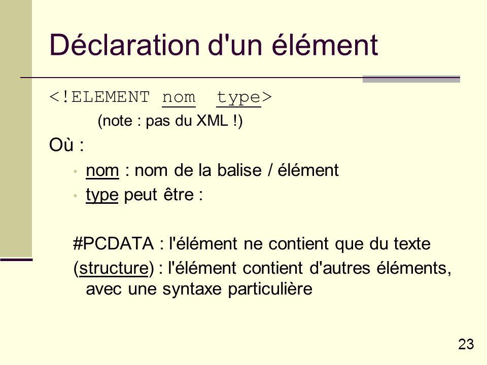 23 Déclaration d un élément (note : pas du XML !) Où : nom : nom de la balise / élément type peut être : #PCDATA : l élément ne contient que du texte (structure) : l élément contient d autres éléments, avec une syntaxe particulière