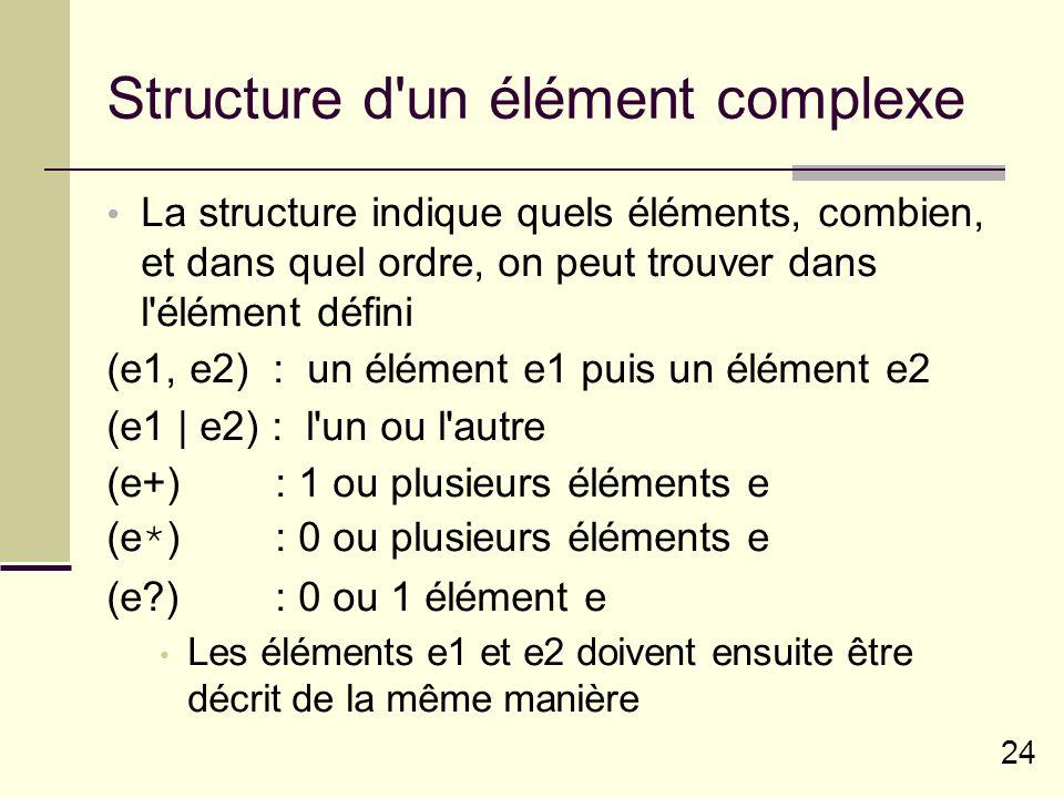24 Structure d un élément complexe La structure indique quels éléments, combien, et dans quel ordre, on peut trouver dans l élément défini (e1, e2) : un élément e1 puis un élément e2 (e1 | e2) : l un ou l autre (e+) : 1 ou plusieurs éléments e (e*) : 0 ou plusieurs éléments e (e ) : 0 ou 1 élément e Les éléments e1 et e2 doivent ensuite être décrit de la même manière
