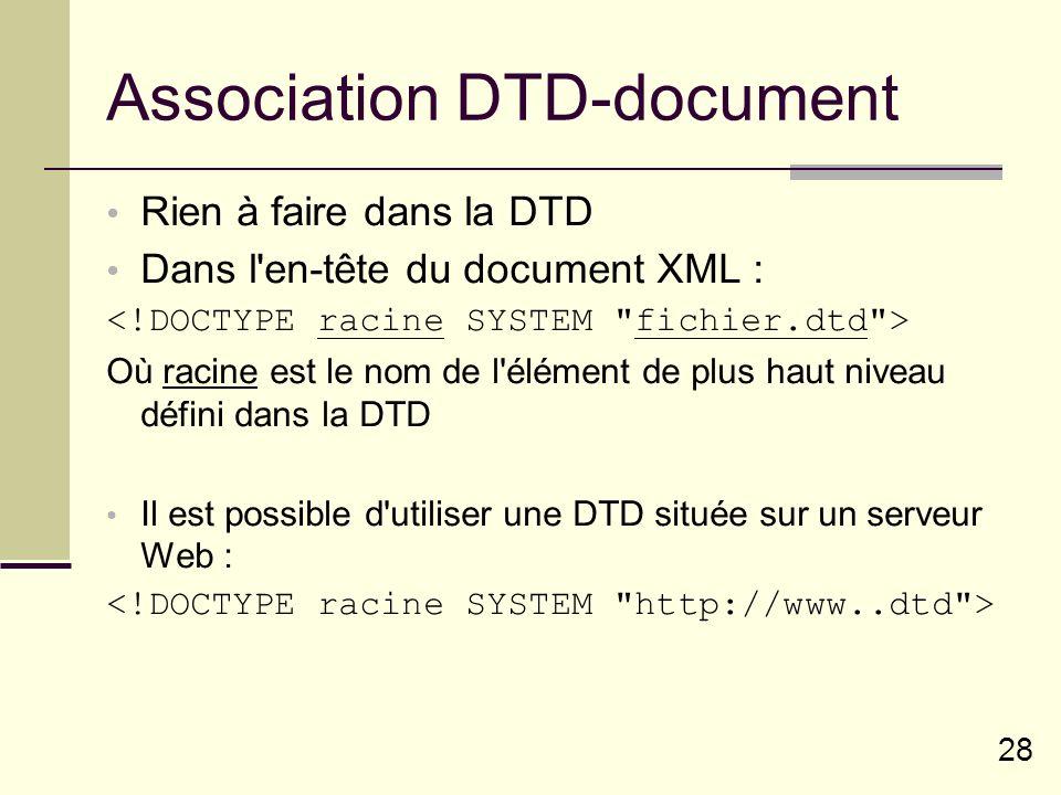 28 Association DTD-document Rien à faire dans la DTD Dans l en-tête du document XML : Où racine est le nom de l élément de plus haut niveau défini dans la DTD Il est possible d utiliser une DTD située sur un serveur Web :