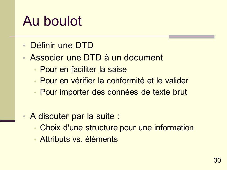 30 Au boulot Définir une DTD Associer une DTD à un document Pour en faciliter la saise Pour en vérifier la conformité et le valider Pour importer des données de texte brut A discuter par la suite : Choix d une structure pour une information Attributs vs.