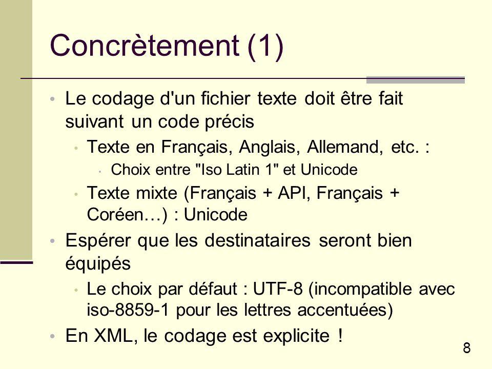 8 Concrètement (1) Le codage d un fichier texte doit être fait suivant un code précis Texte en Français, Anglais, Allemand, etc.
