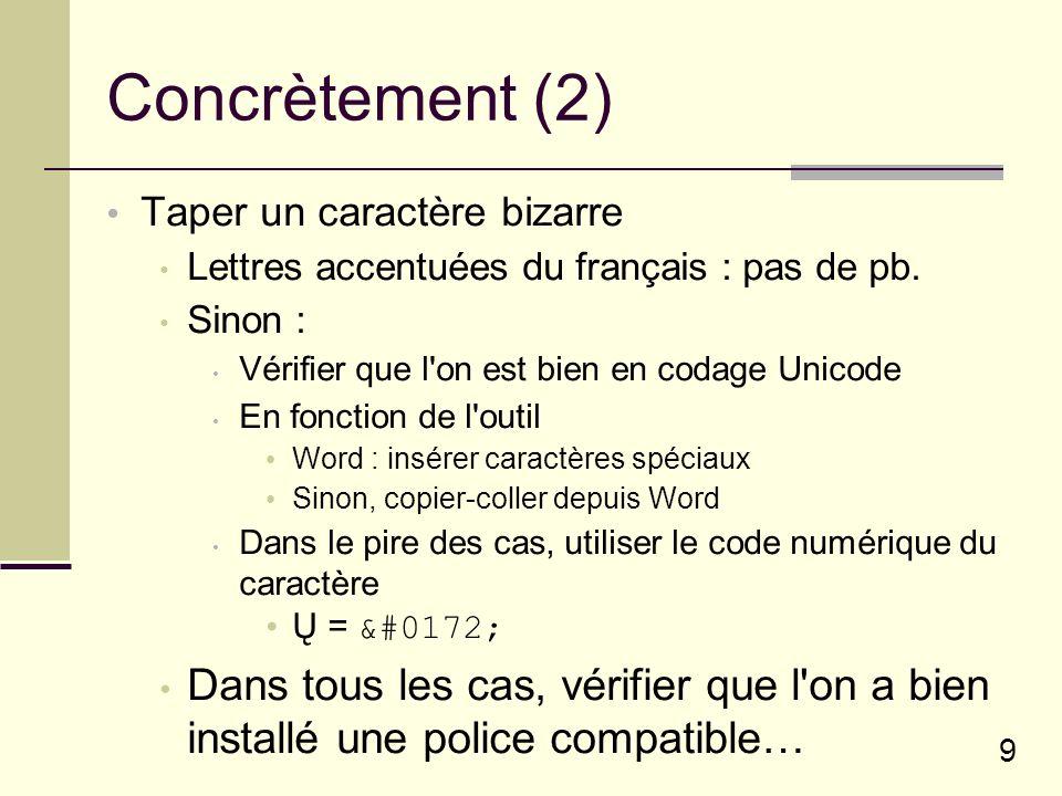 9 Concrètement (2) Taper un caractère bizarre Lettres accentuées du français : pas de pb.