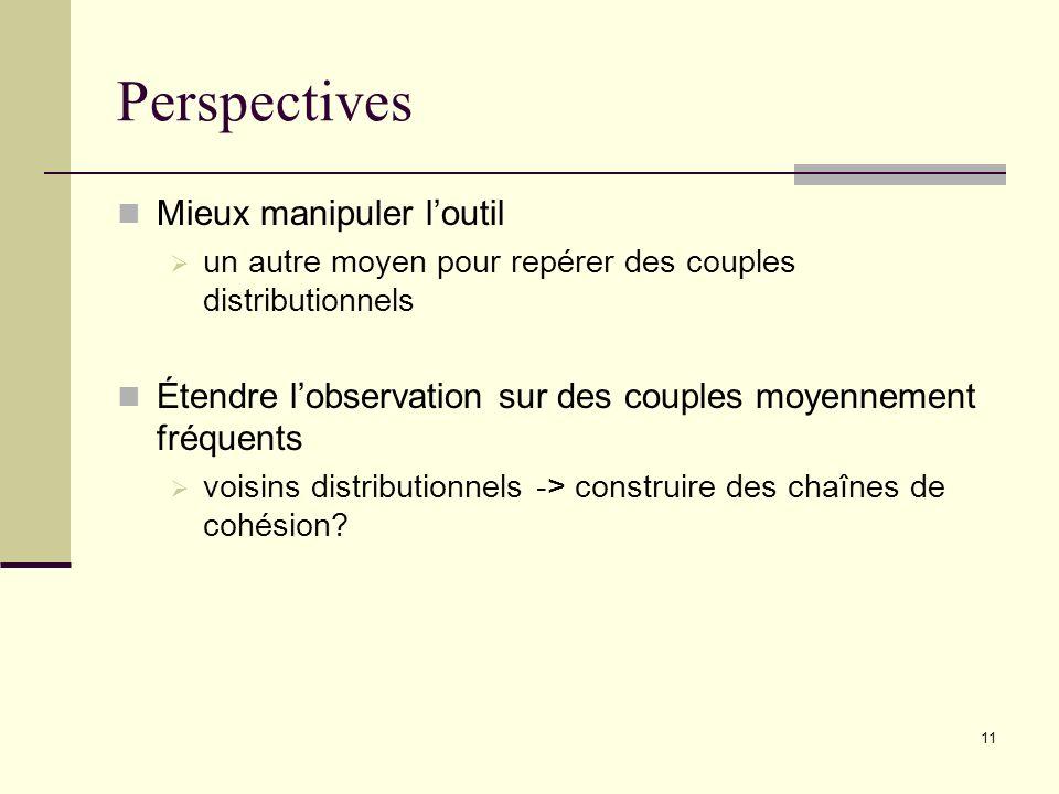 11 Perspectives Mieux manipuler loutil un autre moyen pour repérer des couples distributionnels Étendre lobservation sur des couples moyennement fréquents voisins distributionnels -> construire des chaînes de cohésion