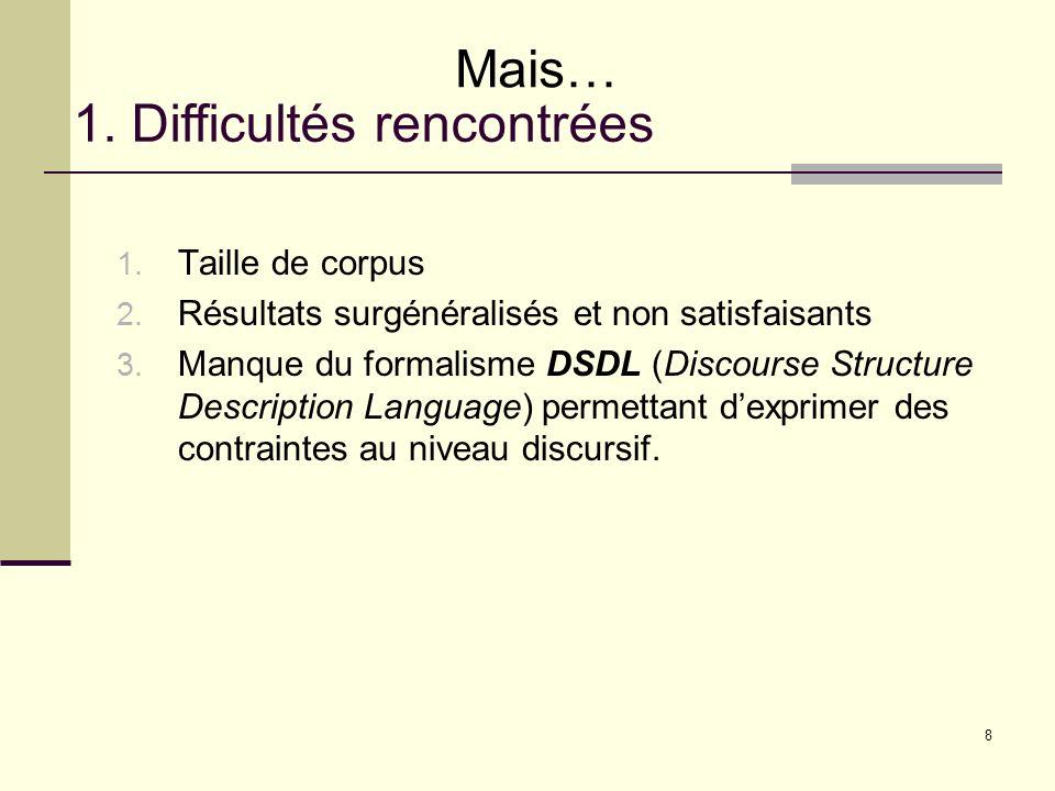 8 1. Difficultés rencontrées Mais… 1. Taille de corpus 2. Résultats surgénéralisés et non satisfaisants 3. Manque du formalisme DSDL (Discourse Struct