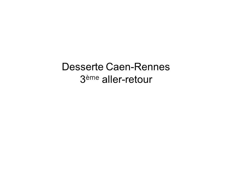 3 ème aller-retour Caen-Rennes -Densification de la desserte Caen-Rennes de bout en bout -à partir de septembre 2011 (le 3 ème aller- retour en JOB existe uniquement en circulation estivale depuis 2006) -Matériel utilisé: Autorail Grande Capacité