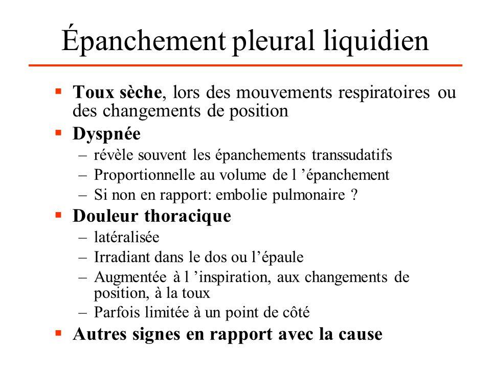 Épanchement pleural liquidien Toux sèche, lors des mouvements respiratoires ou des changements de position Dyspnée –révèle souvent les épanchements transsudatifs –Proportionnelle au volume de l épanchement –Si non en rapport: embolie pulmonaire .