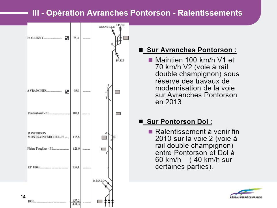 14 III - Opération Avranches Pontorson - Ralentissements Sur Avranches Pontorson : Maintien 100 km/h V1 et 70 km/h V2 (voie à rail double champignon)
