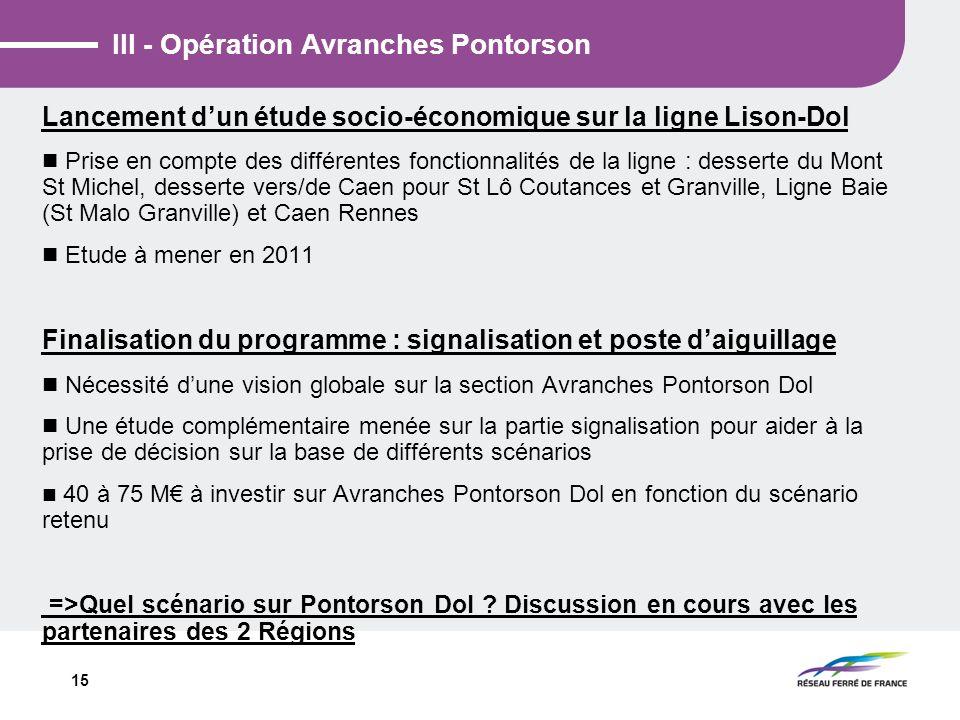 15 III - Opération Avranches Pontorson Lancement dun étude socio-économique sur la ligne Lison-Dol Prise en compte des différentes fonctionnalités de