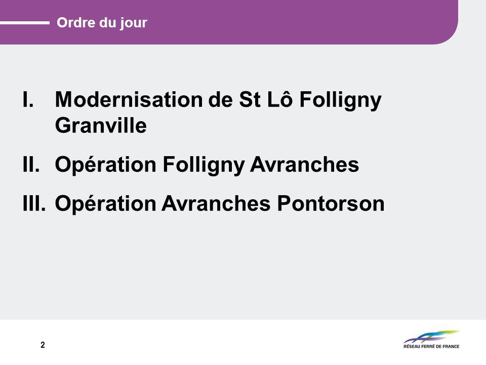 2 Ordre du jour I.Modernisation de St Lô Folligny Granville II.Opération Folligny Avranches III.Opération Avranches Pontorson