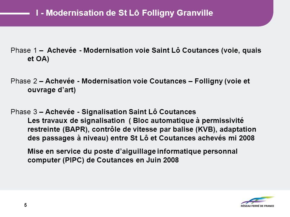 5 I - Modernisation de St Lô Folligny Granville Phase 1 – Achevée - Modernisation voie Saint Lô Coutances (voie, quais et OA) Phase 2 – Achevée - Mode