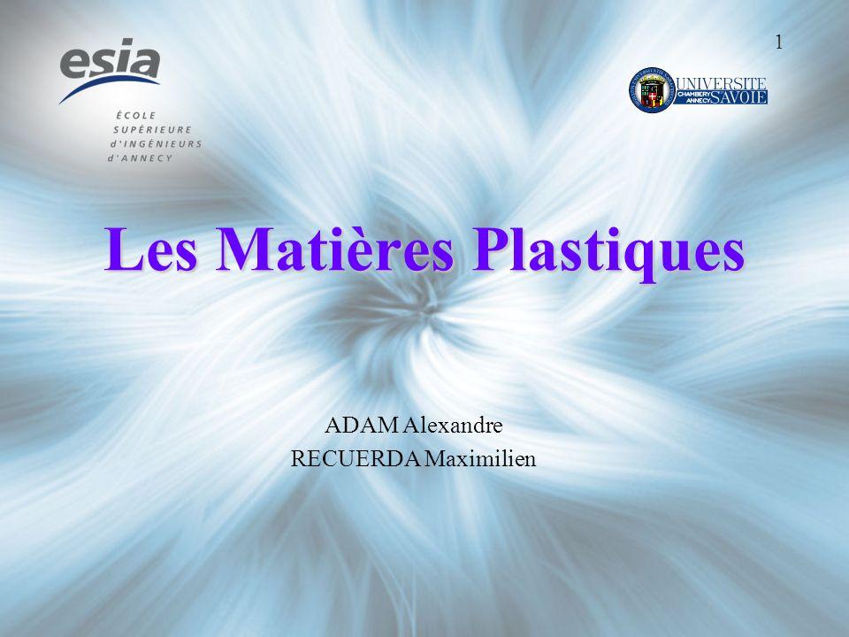 Les Matières Plastiques ADAM Alexandre RECUERDA Maximilien 1