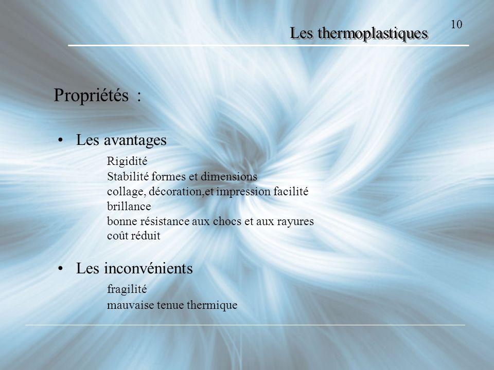 10 Les thermoplastiques Propriétés : Les avantages Rigidité Stabilité formes et dimensions collage, décoration,et impression facilité brillance bonne