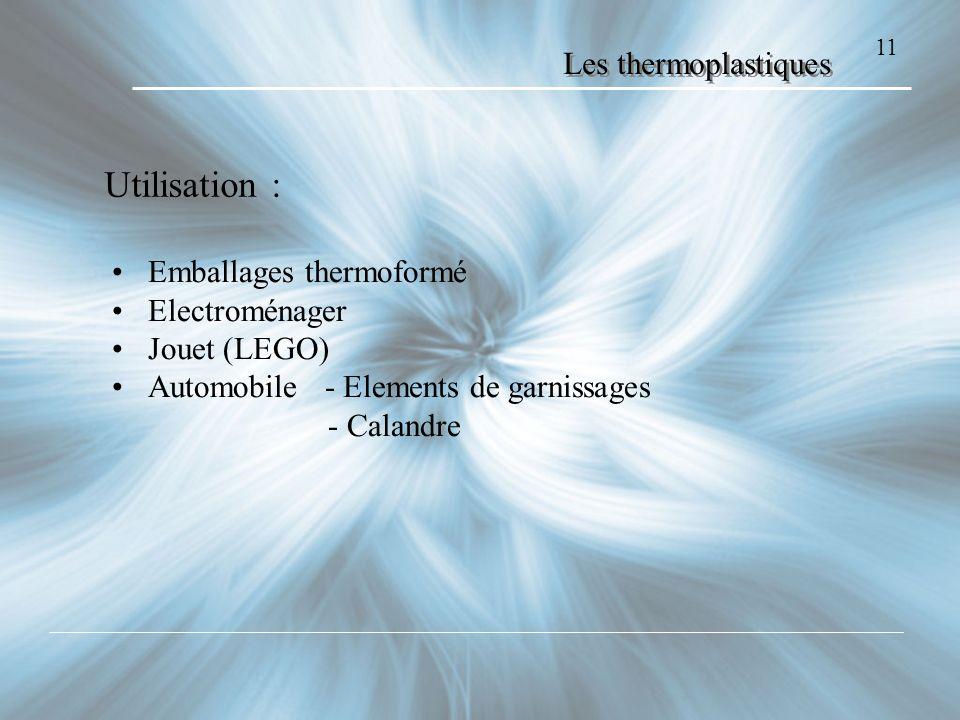 11 Les thermoplastiques Utilisation : Emballages thermoformé Electroménager Jouet (LEGO) Automobile - Elements de garnissages - Calandre