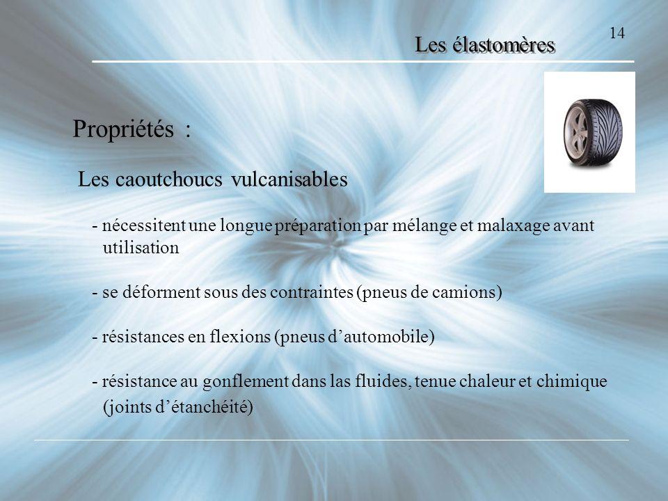 14 Les élastomères Propriétés : Les caoutchoucs vulcanisables - nécessitent une longue préparation par mélange et malaxage avant utilisation - se défo