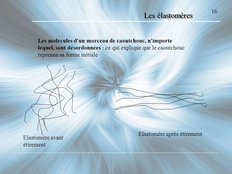 16 Elastomère avant étirement Elastomère après étirement Les molécules d'un morceau de caoutchouc, n'importe lequel, sont désordonnées : ce qui expliq