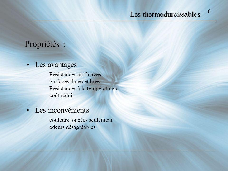 Les thermodurcissables Les avantages Résistances au fluages Surfaces dures et lises Résistances à la températures coût réduit Les inconvénients couleu