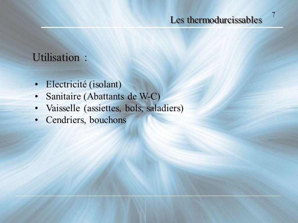 Les thermodurcissables Le POLYESTER 8 Exemples : Utilisations courantes: carrosseries, coques, cuves caractéristiques: Inflammable rigide moulage à froid