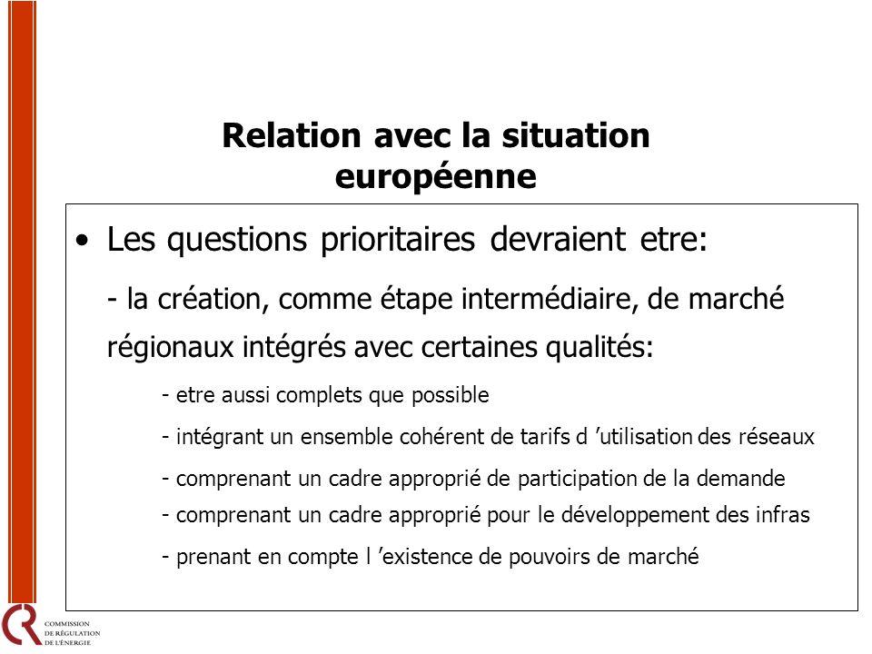 Relation avec la situation européenne Les questions prioritaires devraient etre: - la création, comme étape intermédiaire, de marché régionaux intégré