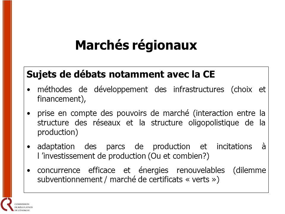 Sujets de débats notamment avec la CE méthodes de développement des infrastructures (choix et financement), prise en compte des pouvoirs de marché (in