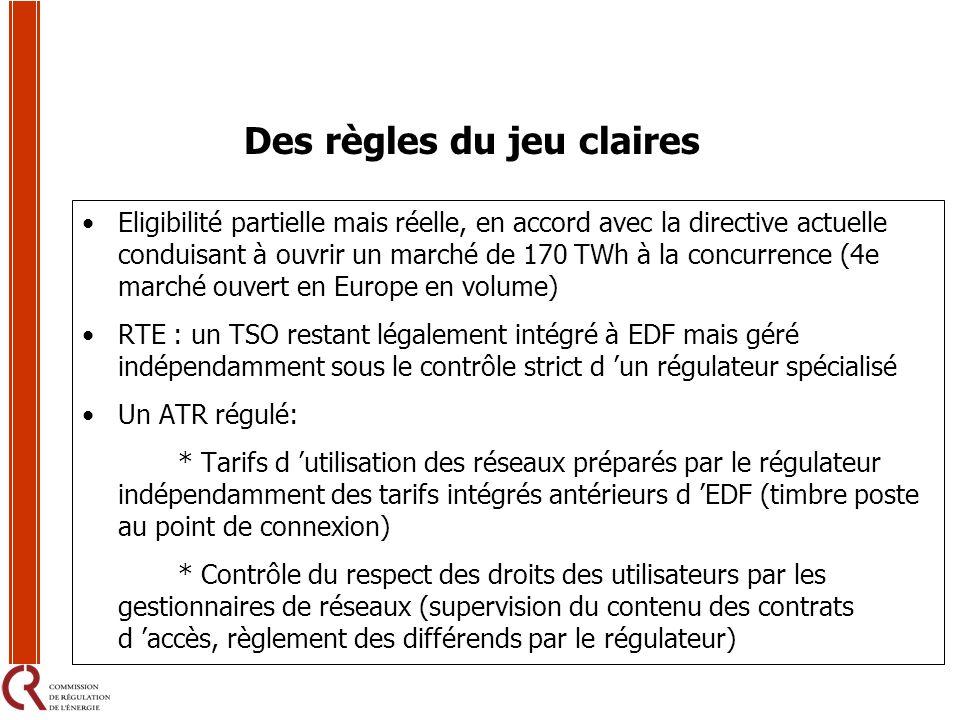 Des règles du jeu claires Eligibilité partielle mais réelle, en accord avec la directive actuelle conduisant à ouvrir un marché de 170 TWh à la concur