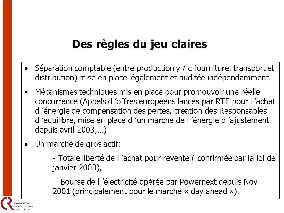 Des règles du jeu claires Séparation comptable (entre production y / c fourniture, transport et distribution) mise en place légalement et auditée indé
