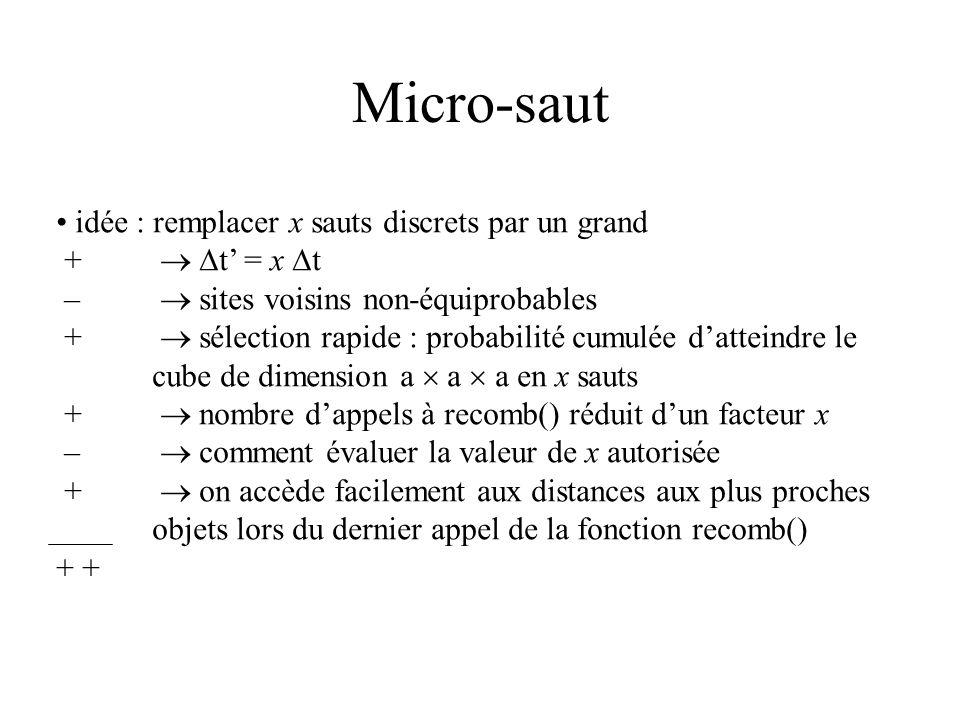 Micro-saut idée : remplacer x sauts discrets par un grand + t = x t – sites voisins non-équiprobables + sélection rapide : probabilité cumulée datteindre le cube de dimension a a a en x sauts + nombre dappels à recomb() réduit dun facteur x – comment évaluer la valeur de x autorisée + on accède facilement aux distances aux plus proches objets lors du dernier appel de la fonction recomb() +